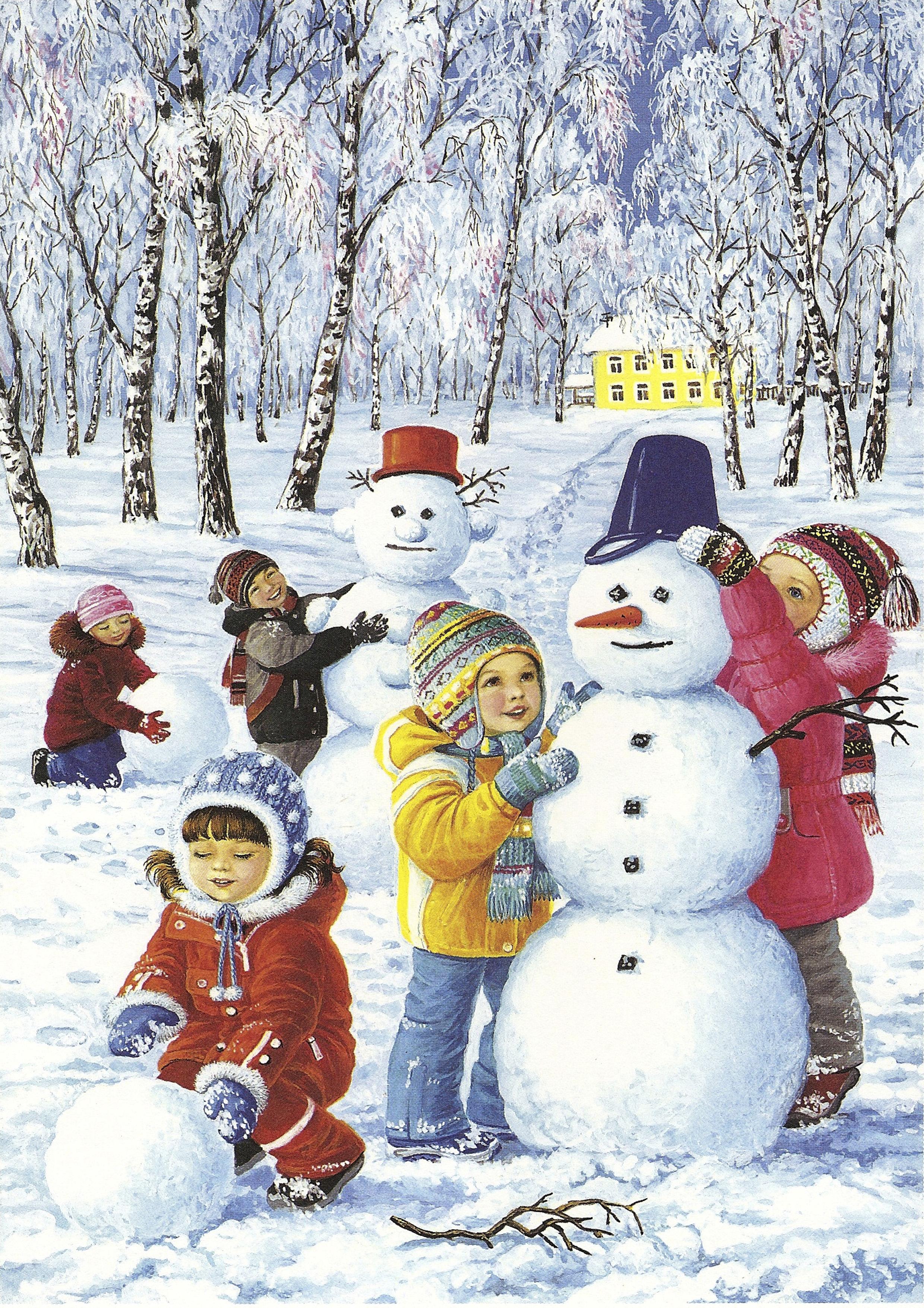 Зима картинки с детьми 2